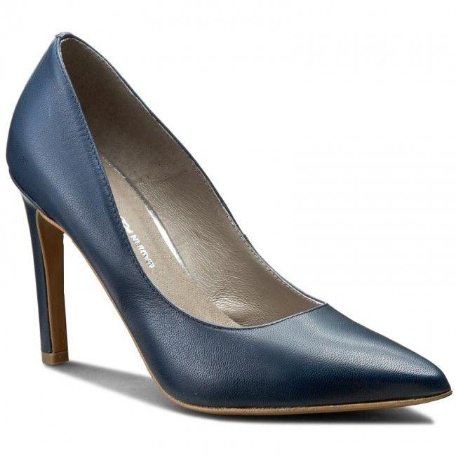 Pantofi cu toc subțire BUT-S - A100 Bleumarin