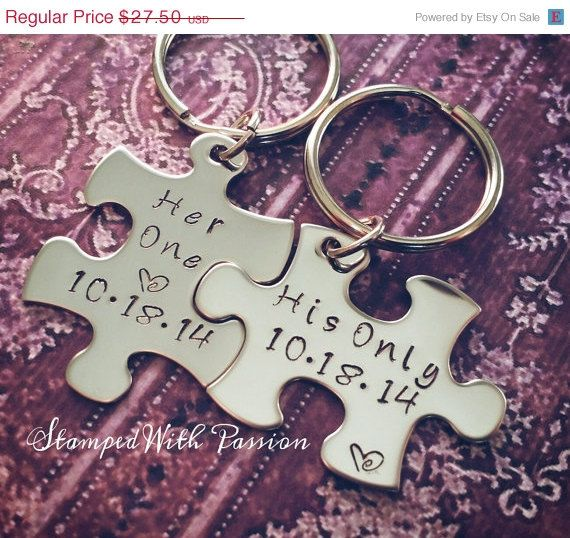 Spring Sale His and Her Puzzle Piece by StampedWithPassion on Etsy