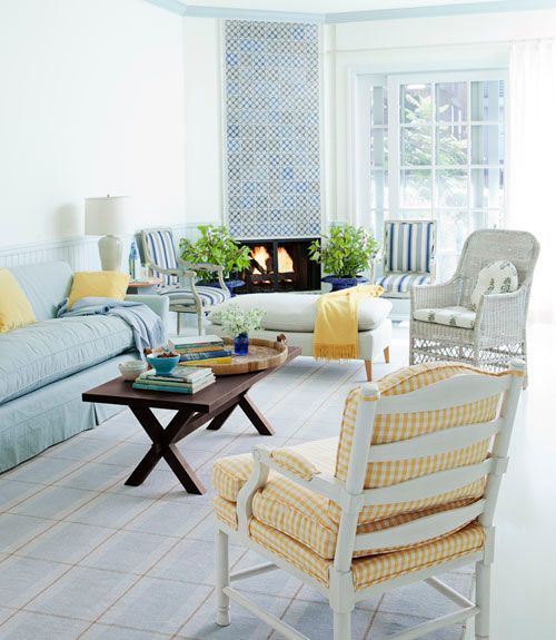 beachy: Living Rooms, Coffee Table, Livingroom, Decorating Ideas, White Trim, Family Rooms, Color Palette