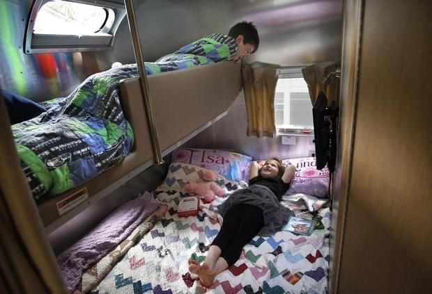 Tour our Airstream :: Kids bunks, back bedroom area {Flying Cloud Bunk Model}