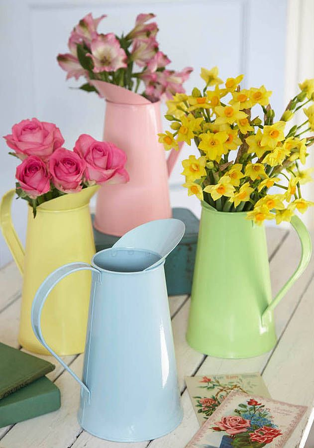 metal pastel jug by the contemporary home | notonthehighstreet.com These look so beautiful with flowers in, and would really brighten up the room :)