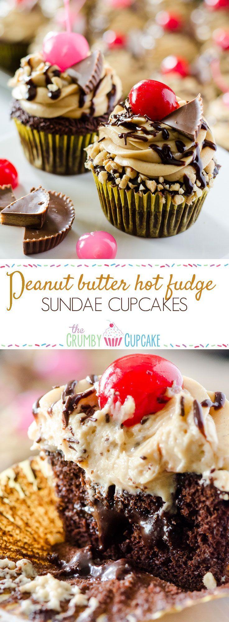 Peanut Butter Hot Fudge Sundae Cupcakes #christmasdesserts
