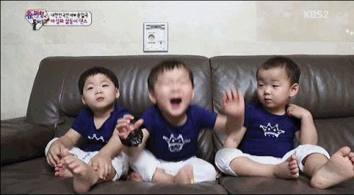 ' The Return Of Supermen ' Triples : Daehan, Minguk, Manse happiness bounce [GIF] #TheReturnofSuperman