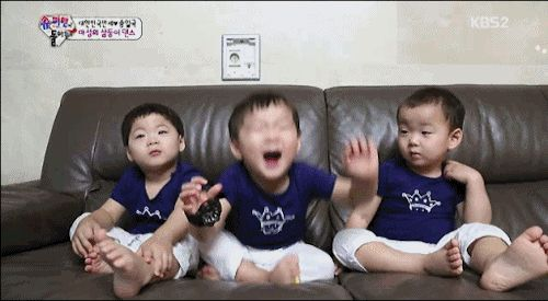 ' The Return Of Supermen ' Triples : Daehan, Minguk, Manse happiness bounce [GIF] #TheReturnofSuperman