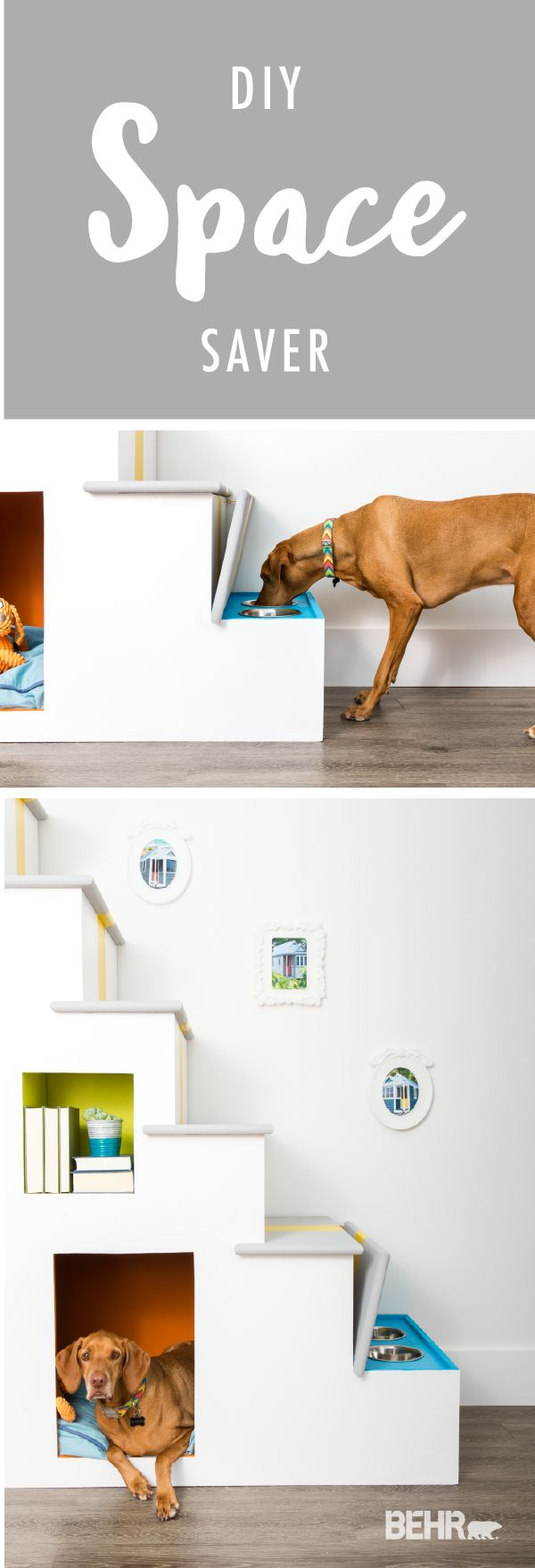 Makeover your small living space with these DIY small space stairs. This fun project is ideal for people with pets who don't have much storage space. Add a feeding station and room for a pet bed so your furry friends can enjoy this stylish statement piece as much as you will.