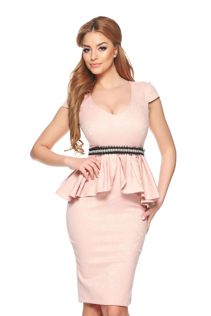 StarShinerS Tip Top Rosa Dress, accessorized with tied waistband, pearl embellished details, with ruffle details, back zipper fastening, elastic fabric
