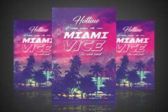 Miami Vice Flyer Poster By Vectormedia On Creativemarket Flyer Miami Vice Happy Design