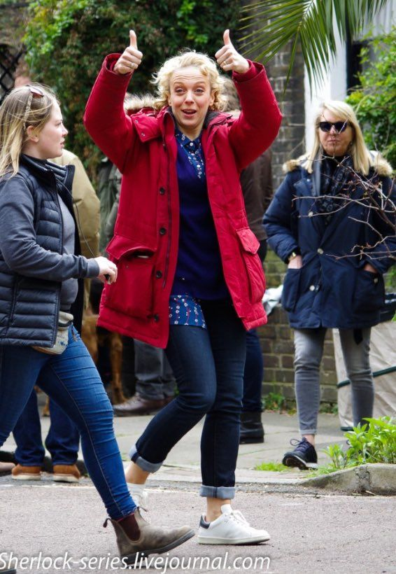 SHERLOCK (BBC) ~ Amanda Abbington (Mary Watson) behind the scenes during Season 4 filming on April 28, 2016.