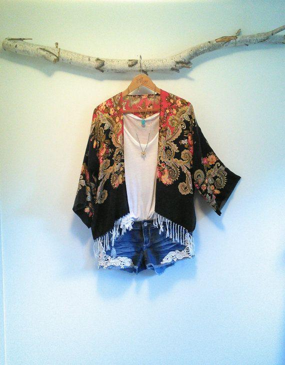 Short bohemian kimono  Baroque  Fringe  Multicolor  by NORTHBOHEME