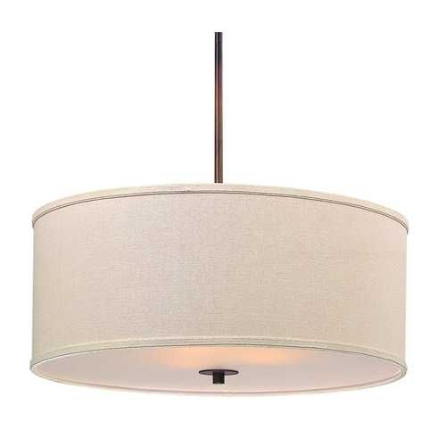 Design Classics Lighting Bronze Drum Pendant Light with Cream Linen Shade | DCL 6528-604 SH7420 KIT | Destination Lighting