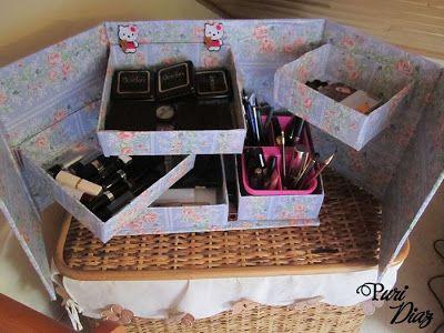 Mis Manualidades y Aficciones: Organizador de maquillage reciclando cartón