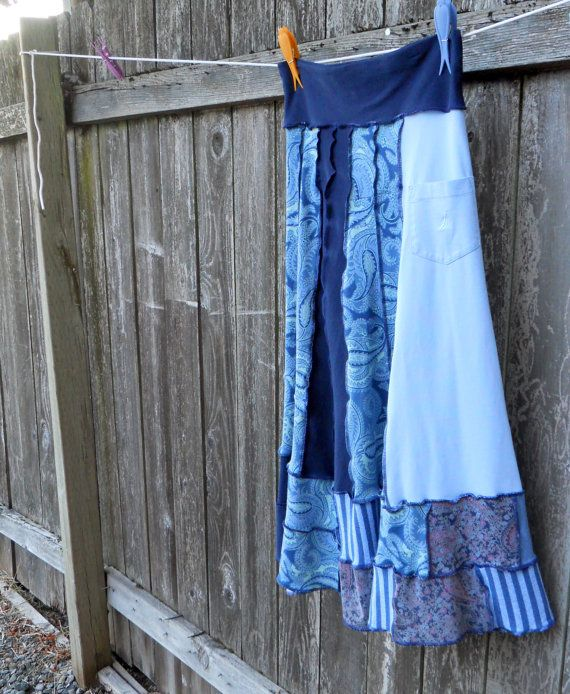 Recycled T Shirt Skirt The Blues Upcycled Clothing by ThankfulRose, $65.00