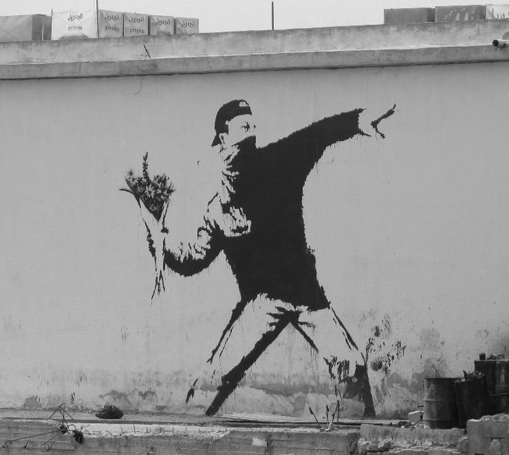 Graffiti courtesy of Banksy.  Overwhelming to see in person, political art at its best