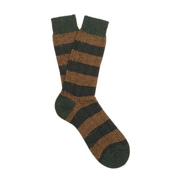 Pantherella Solsbury striped wool-blend socks (€13) ❤ liked on Polyvore featuring men's fashion, men's clothing, men's socks, green multi, mens seamless socks, mens green socks and mens striped socks