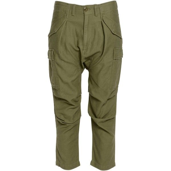 Nlst 3/4-length Trousers ($220) ❤ liked on Polyvore featuring pants, military green, olive zipper pants, green zipper pants, multi pocket cargo pants, green pants and green camo pants