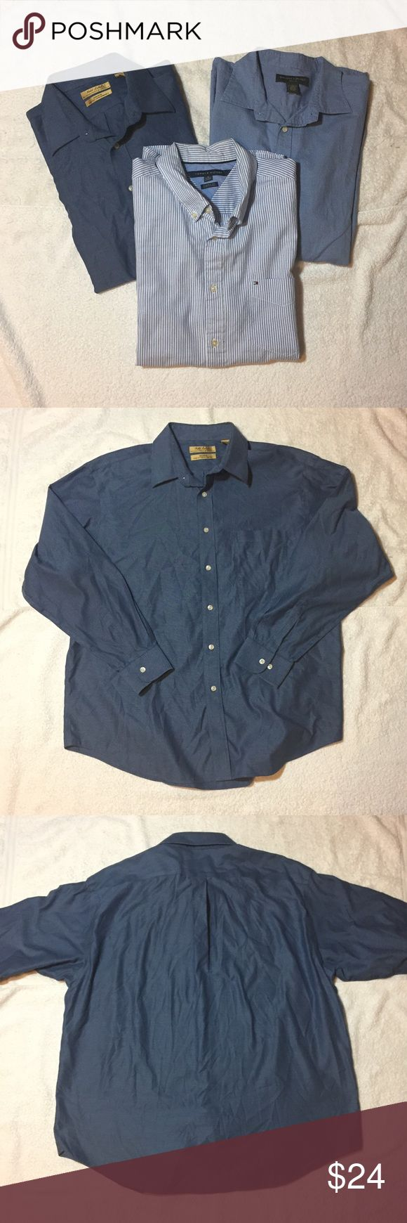Bundle of 3 Men's XL Blue Patterned Dress Shirts Bundle of 3 Men's XL Blue Patterned Dress Shirts. All are 100% cotton. From left: Roundtree & York, Tommy Hilfiger Classic Fit, Banana Republic Relaxed Fit. Vrs/250/030717 Banana Republic Shirts Dress Shirts