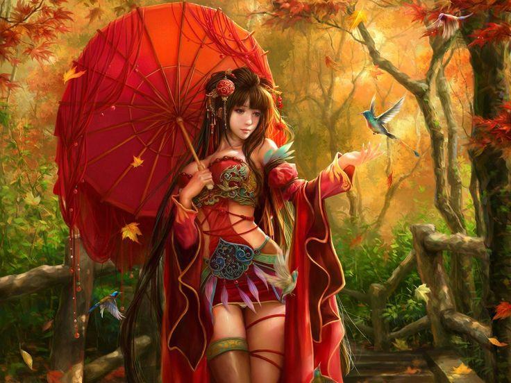 арт, девушка, зонт, зонтик, листья, птицы, осень, украшения, перья