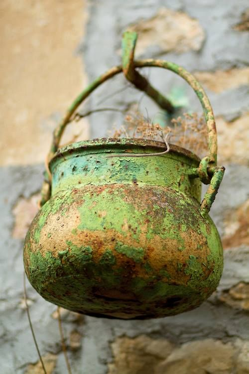 Rust and lime chippy paint