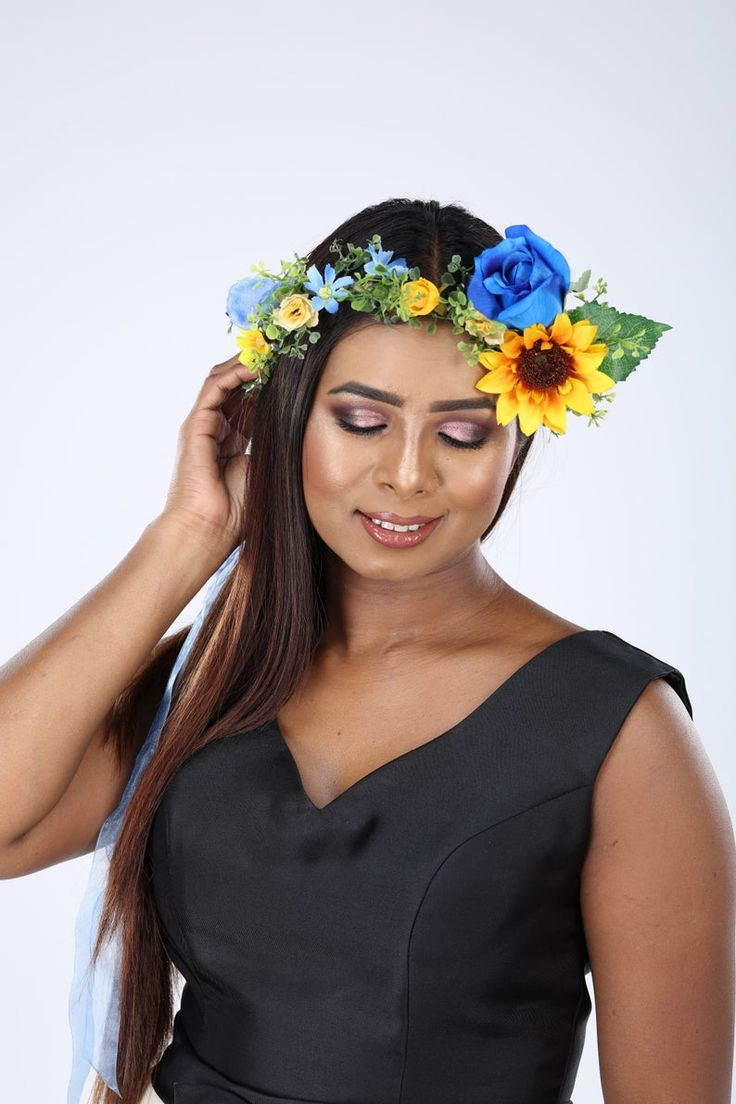 Blue rose and sunflower silk flower crown etsy in 2020