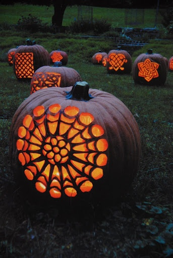 Celtic Pumpkins - Great idea for #lanterns for a #fall #wedding