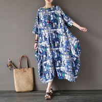 СПОКОЙНО 2017 Летние Льняные Платья Старинные Половины Рукав О-Образным Вырезом-line Свободный Плюс Размер Длинные Dress Casual Печати Халат Vestidos