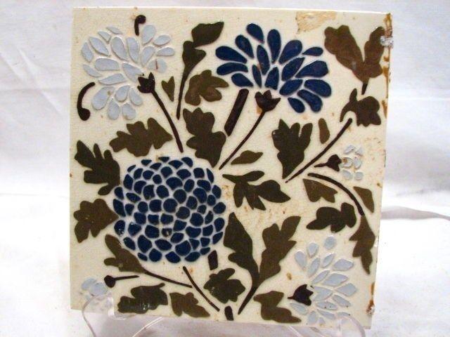 Early Majolica Glazed Ceramic Tile Art Nouveau Blue Corn Flower Floral Garden H | Antiques, Architectural & Garden, Tiles | eBay!