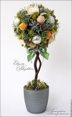 """Купить Топиарий, деревце счастья """"Новогоднее настроение"""" - зеленый, топиарий, Дерево счастья, новогодний топиарий"""