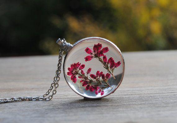 Heather necklace, Heather pendant, pressed flower necklace, terrarium pendant, glass pendant, bohemian necklace, metalwork, boho,woodland by IskraCreations