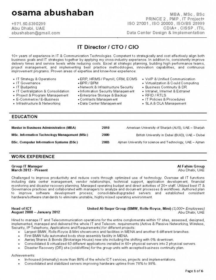 Cio Resume Invitation Sample Pinterest Resume - cio resume