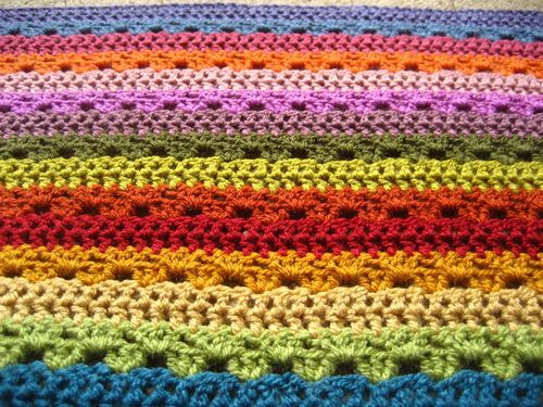 Colorful Striped Throw from Attic 24 using granny square stitch and double crochets.