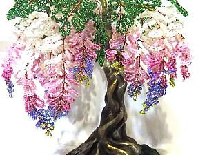 Создаем дерево глицинии из бисера - Фирюза - Ярмарка Мастеров http://www.livemaster.ru/topic/1928785-sozdaem-derevo-glitsinii-iz-bisera