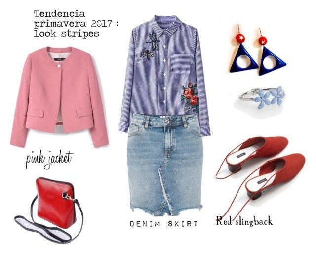 """tendencia Primavera : Camisa de Rayas con bordados"" by aliciagorostiza ❤ liked on Polyvore featuring River Island, MANGO and Talbots"