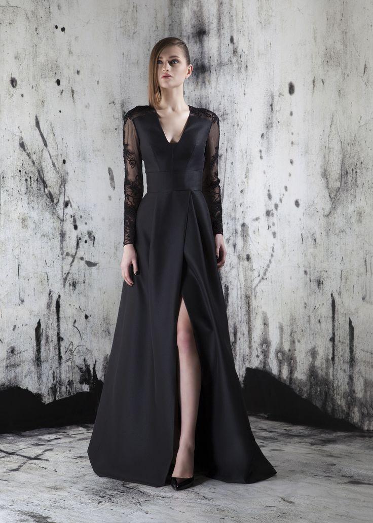 Black evening gown long dress fashion style slit