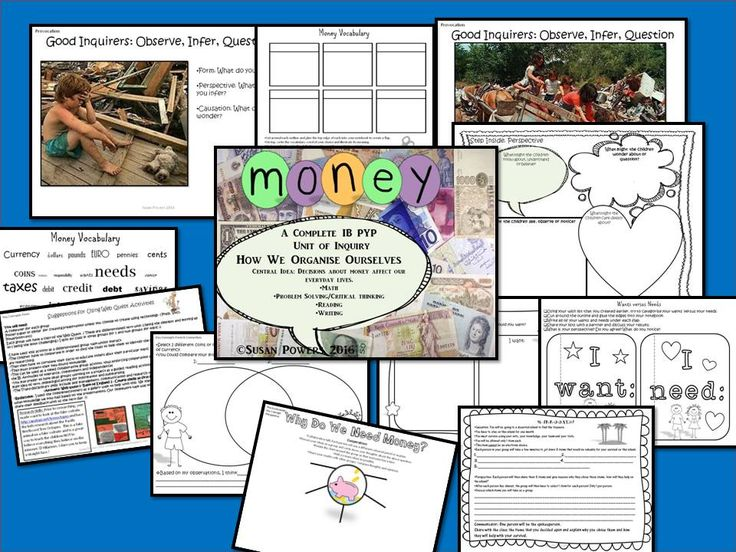 More IB PYP inquiry based learning; Money and how decisions about it can shape our lives. Trans disciplinary.