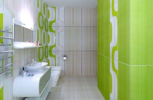 Дизайн ванной комнаты в салатовых тонах с белым санфаянсом и мебелью. #дизайн_ванной #подвесная_тумба #накладная_раковина #салатовая_ванная_комната #плитка_в_ванную #сантехника_для_ванны