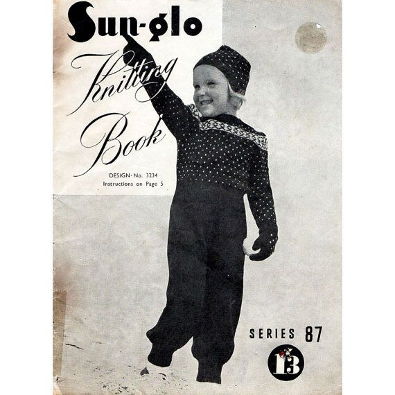 1940s Vintage Knitting Patterns For Children Sun by BessieAndMaive, $8.00