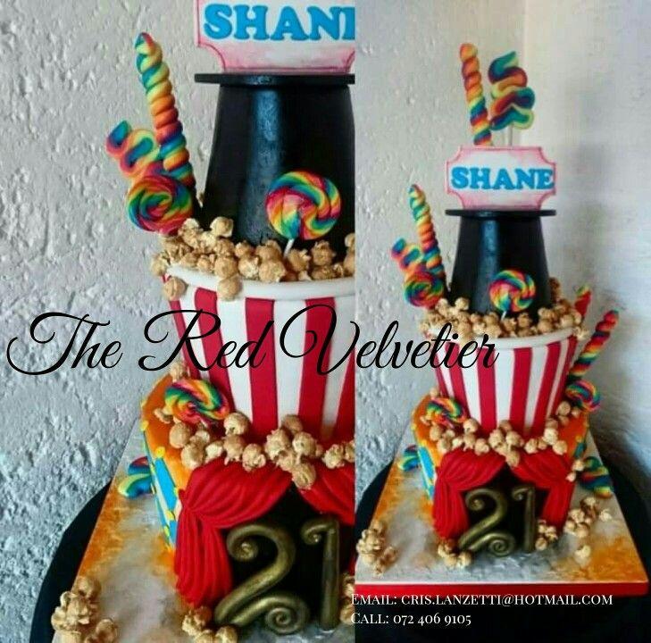 Carnival themed birthday 21st birthday cake!  Rainbow sponge #cake #love #carnival