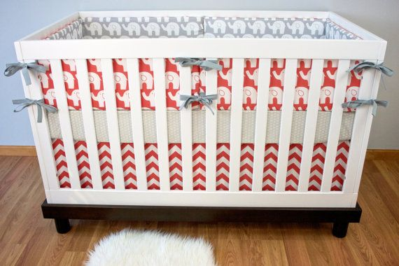 Chevron Crib Bedding Round-up: Fun mix of prints in this coral #chevron bedding from @Modified Tot by Holly Alfton - #nursery #bedding