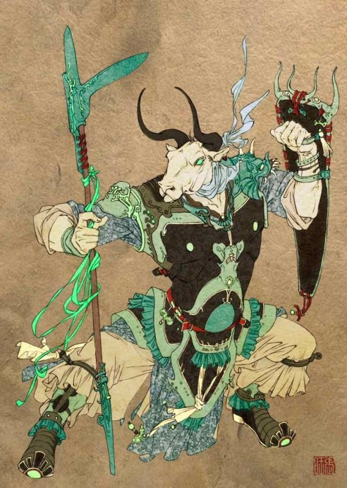 I love this original art by Chinese artist Zhang Wang. This is ox head, one of two guardians of the underworld in Chinese mythology.