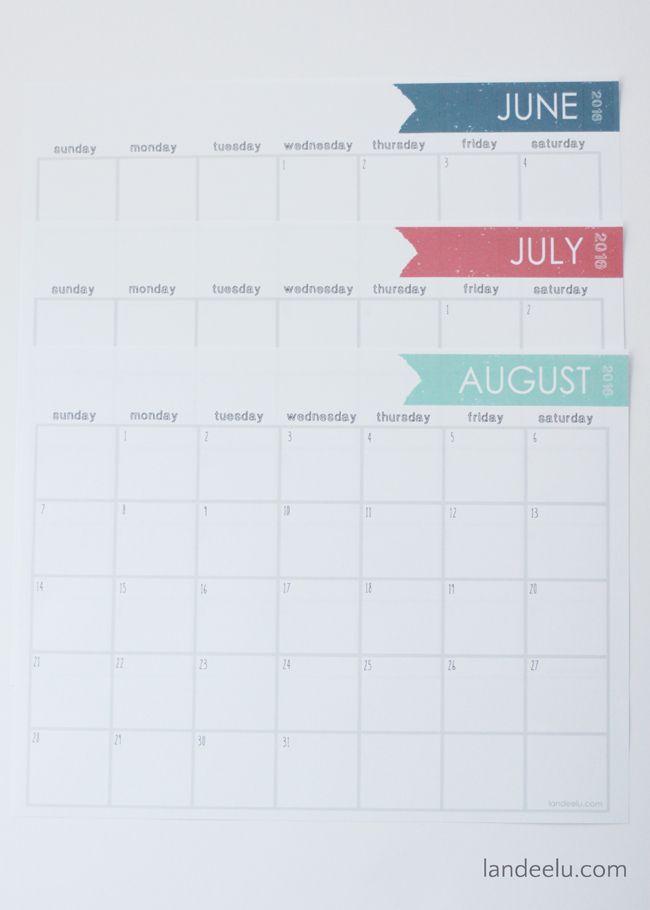Free Printable Calendar 2016   landeelu.com