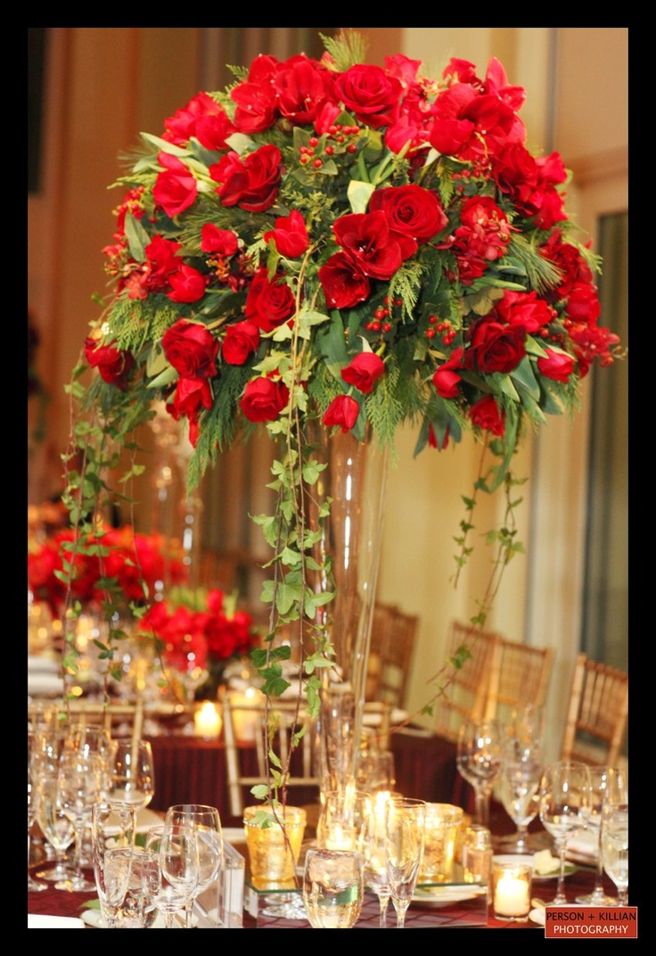 Modern Candle And Red Floral Bud Vase Centerpieces Red Wedding