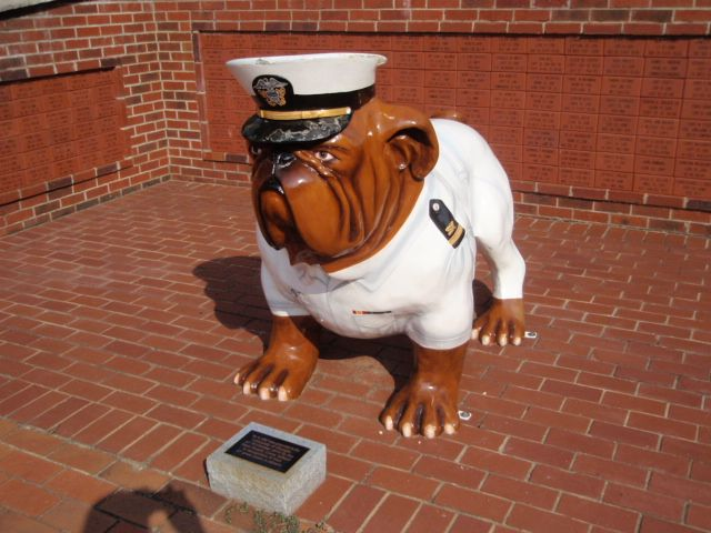 Bulldog donated by the Navy Supply School to the University of Georgia on  the grounds of