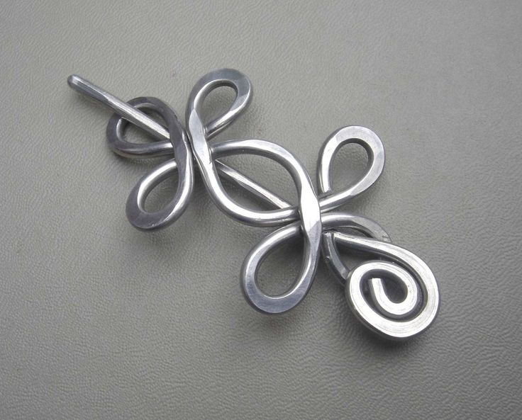 Aluminum Wire Shawl Pin / Hair Pin / Scarf Pin - Double Crossed Loops. $18.00, via Etsy.    http://www.etsy.com/listing/62788011/aluminum-wire-shawl-pin-hair-pin-scarf