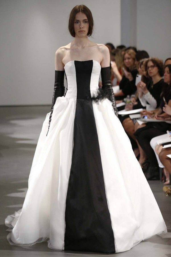 Vera Wang Spring 2014: A collection of graphic black and white colour-blocked gowns. Photo by Fairchild Photo Service.