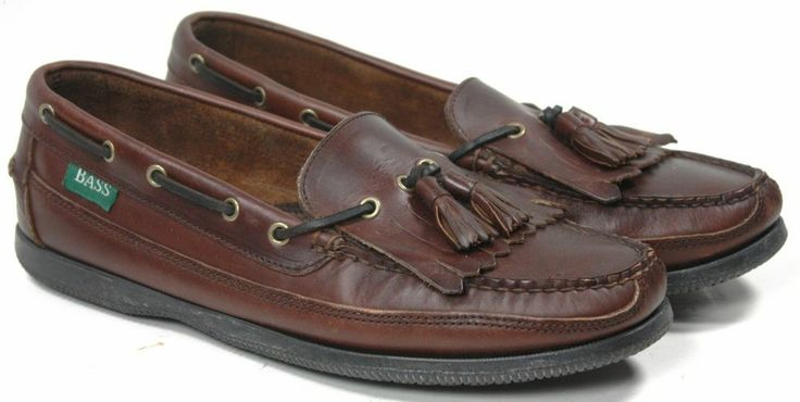 Men S Bass Flint Kilt Amp Tassel Brown Leather Boat Shoes