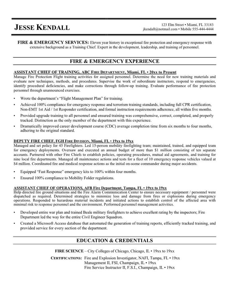 8 best Resume images on Pinterest Firefighter resume, Sample
