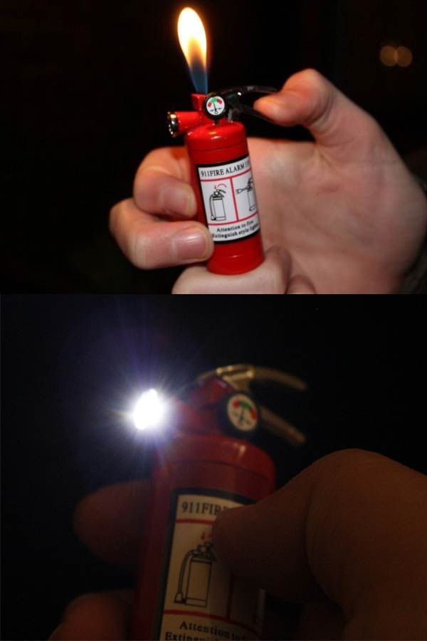Fire extinguisher  lighter with small LED light at the nozzle