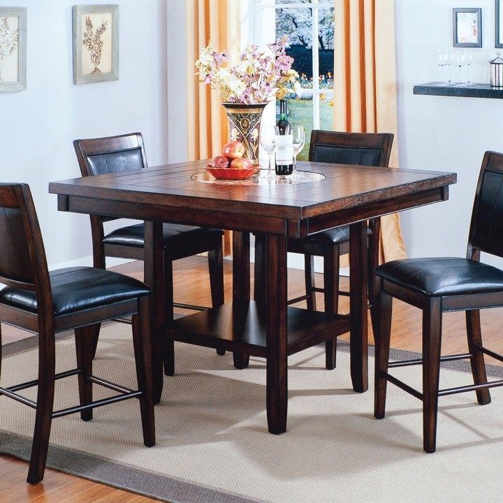 This Beautiful Crown Mark Fulton Counter Height Table With Lazy Susan Is Well Designed The Large Square Tabletop Easily Accommodates Four Diners For A Com