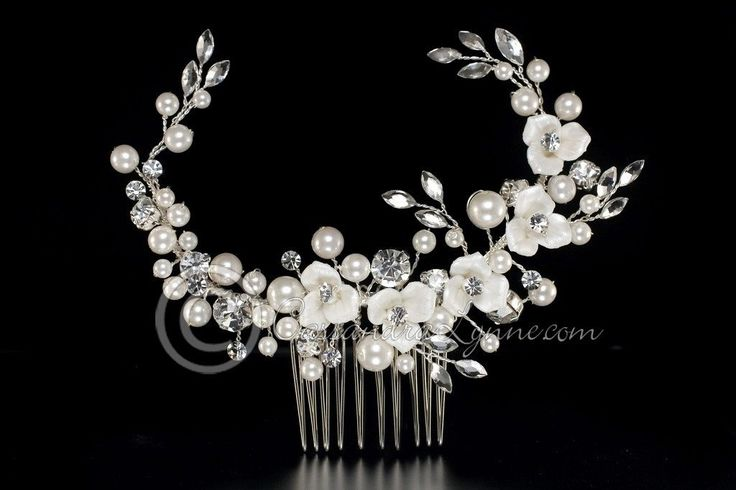 Bridal Hair Comb with Porcelain Flowers and Pearls