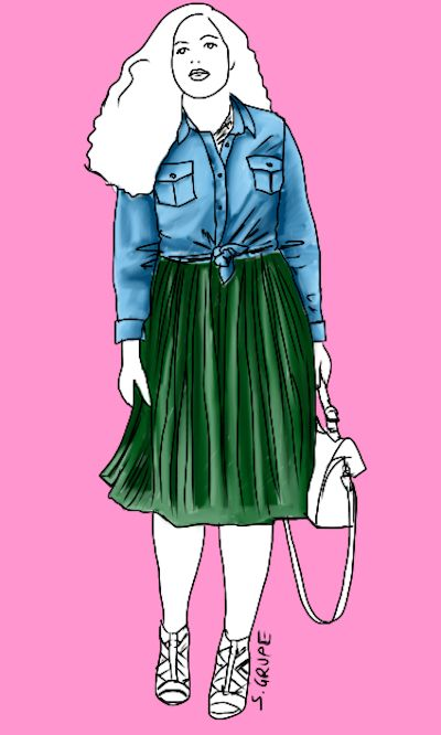 Ein Jeanshemd können Sie auch im Stilbruch mit einem der angesagten Plissée-Röcke kombinieren. Mit den richtigen Accessoires ergibt sich ein femininer Party-Look. Modeflüsterin - Stil für starke Frauen über 40
